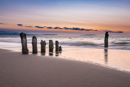 groynes: Groynes on shore of the Baltic Sea in the evening. Stock Photo