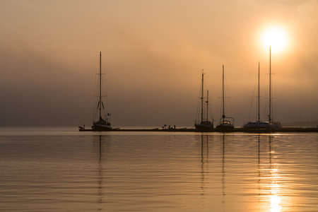town idyll: Sunrise in the city port of Rostock (Germany).