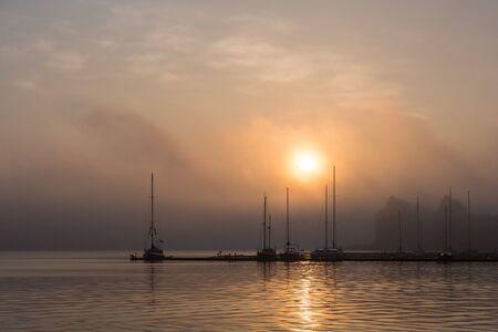 rostock: Sunrise in the city port of Rostock (Germany).