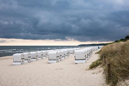 beach chairs: Beach chairs in Zinnowitz (Germany) on the island Usedom.