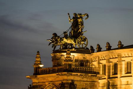 quadriga: Quadriga on the Semperoper in Dresden (Germany).