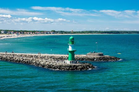 View to the mole of Warnemuende (Germany).