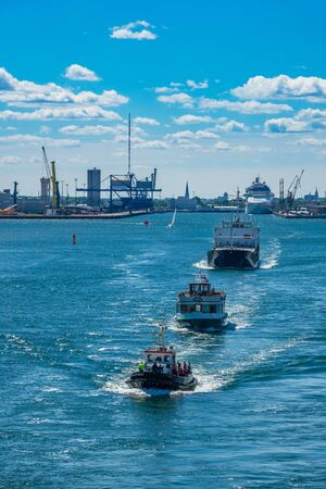 rostock: Ships leaving the port of Rostock (Germany).