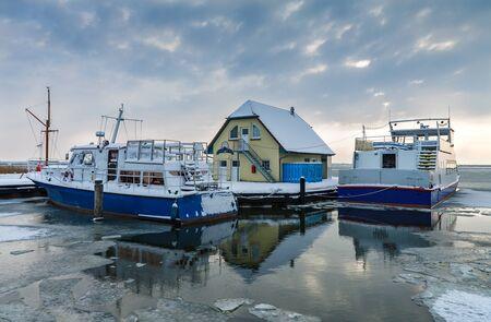 Port in Born (Germany) in winter time.