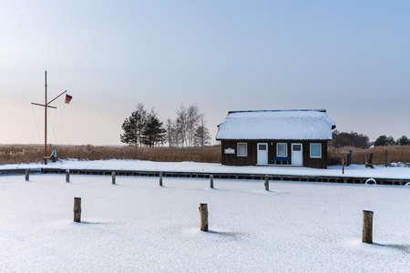 Port in Wiek (Germany) in winter time. Stock Photo