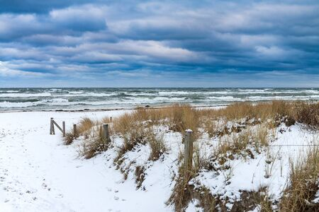 Baltic Sea coast in Prerow (Germany) in winter time. Stock Photo