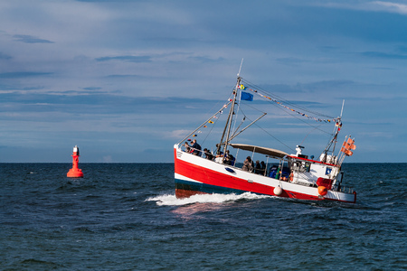 Fishing boat on the Baltic Sea in Rostock (Germany).