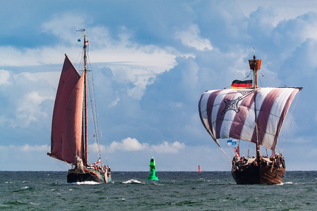 Sailing ships on the Baltic Sea in Rostock (Germany). Stock Photo