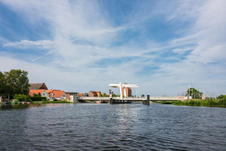 View over the river Peene to Loitz (Germany).