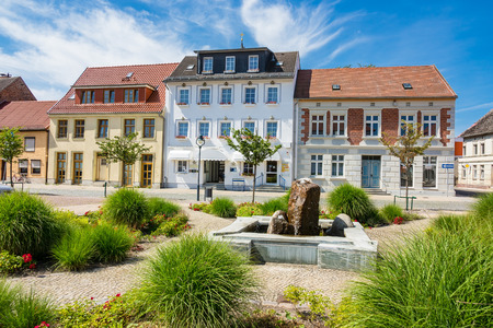 Buildings with blue sky in Loitz (Germany). Stock Photo