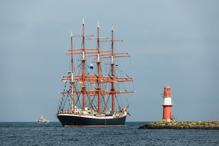 Sailing ship on the Baltic Sea in Rostock, Germany.