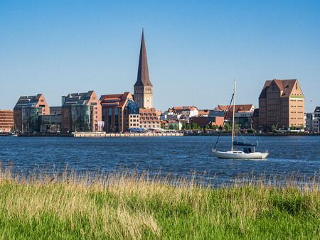 town idyll: View over the river Warnow to Rostock, Germany.