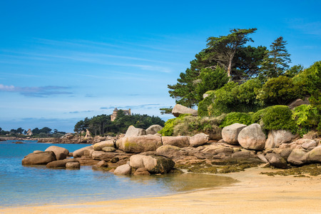 cote de granit rose: Pink Granite Coast in Brittany near Ploumanach, France. Stock Photo