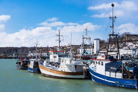 View to the Fishery port in Sassnitz, Germany. Stock Photo
