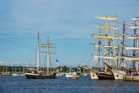 Sailing ships in Rostock, Germany. Stock Photo