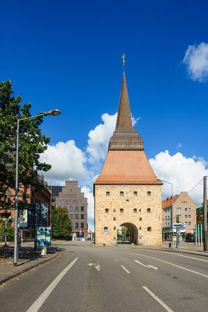 View to a historical building in Rostock, Germany. Stock Photo