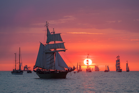 Sailing ships on the Baltic Sea in Rostock, Germany. Фото со стока