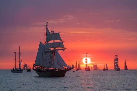 Sailing ships on the Baltic Sea in Rostock, Germany. Zdjęcie Seryjne