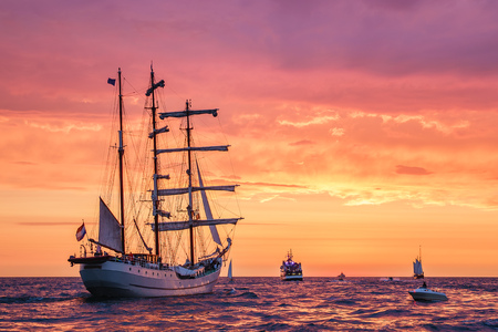 Sailing ships on the Baltic Sea in Rostock, Germany. Editorial