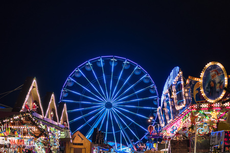 ferris wheel on the christmas market in rostock germany stock photo 91194825