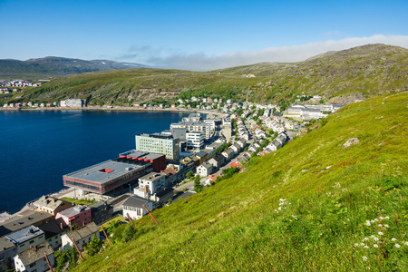View to the city Hammerfest in Norway. Standard-Bild