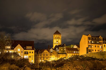 View to the a church in Rostock, Germany. Stock Photo