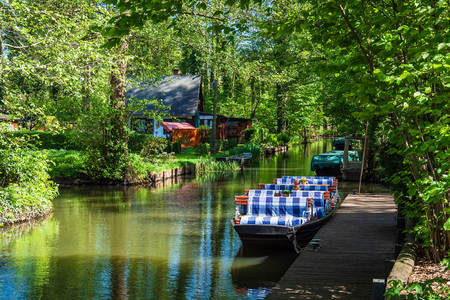 Landscape with barge in the Spreewald area, Germany.