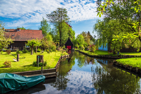 Landscape with cottages in the Spreewald area, Germany.