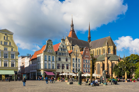 View over the market square Neuer Markt in Rostock, Germany. Редакционное