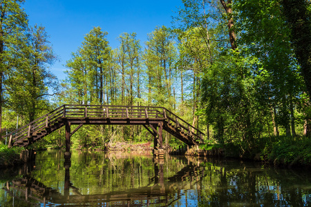 Landscape with bridge in the Spreewald area, Germany. Stock Photo