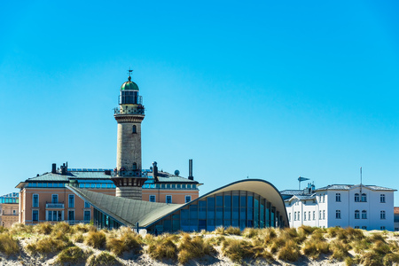 Lighthouse with blue sky in Warnemuende, Germany.