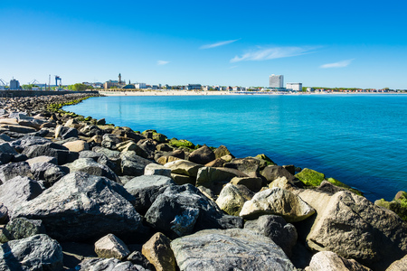 Mole with blue sky in Warnemuende, Germany.