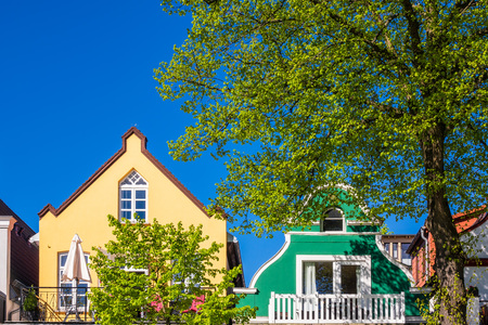 Buildings with blue sky in Warnemuende, Germany.