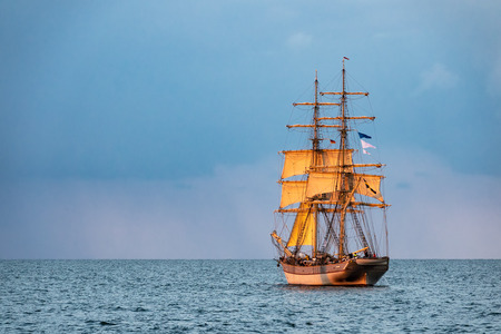 Windjammer on the Baltic Sea in Warnemuende, Germany.