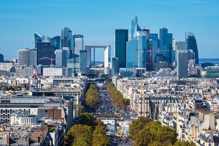 View to the high rise La Defense in Paris, France. Stock Photo