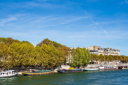 View to ships on the river Seine in Paris, France. Stock Photo