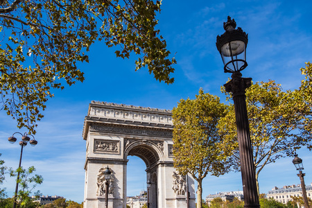 View to the Triumphal Arch in Paris, France.