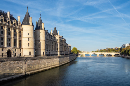 View to the Conciergerie on the river Seine in Paris, France.