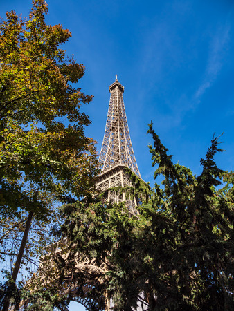 View to the Eiffel Tower in Paris, France.