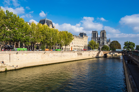 View to the cathedral Notre-Dame in Paris, France.