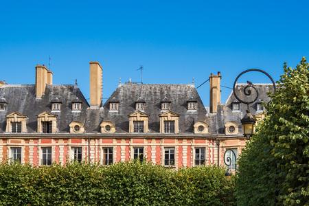 View to the Place des Vosges in Paris, France.