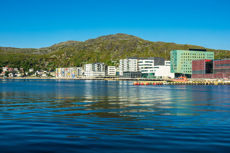 View to the city Hammerfest in Norway. Editorial