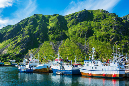 Fishing boats on the Lofoten islands in Norway. Editorial