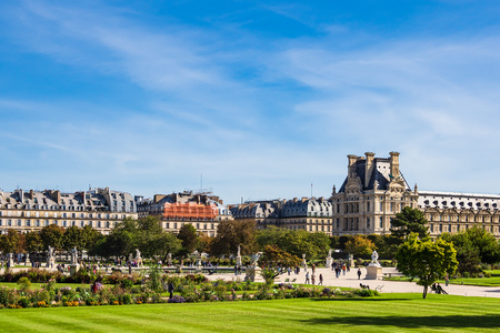View to the Jardin des Tuileries in Paris, France.