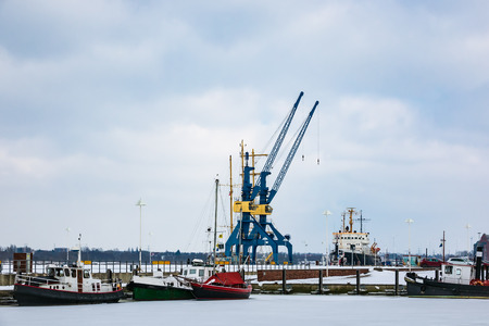 Winter time in the city port of Rostock, Germany.