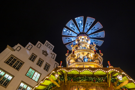 Pyramid on the Christmas Market in Rostock, Germany. Editorial