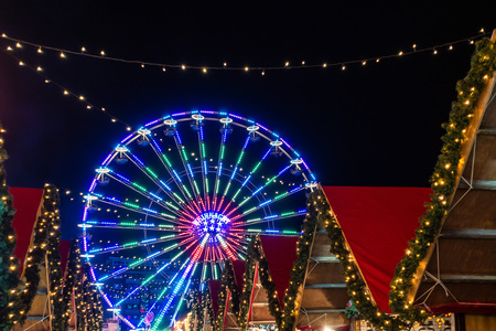 Ferry wheel on the Christmas Market in Rostock, Germany.