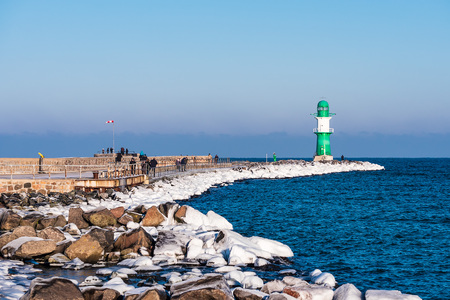 The mole in winter time in Warnemuende, Germany. Editorial