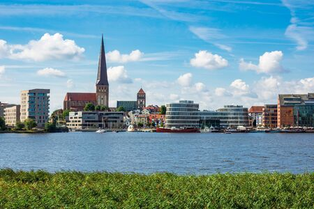 View to the hanseatic town Rostock, Germany.