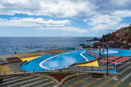 Swimming pool in Funchal on the island Madeira, Portugal. Stockfoto